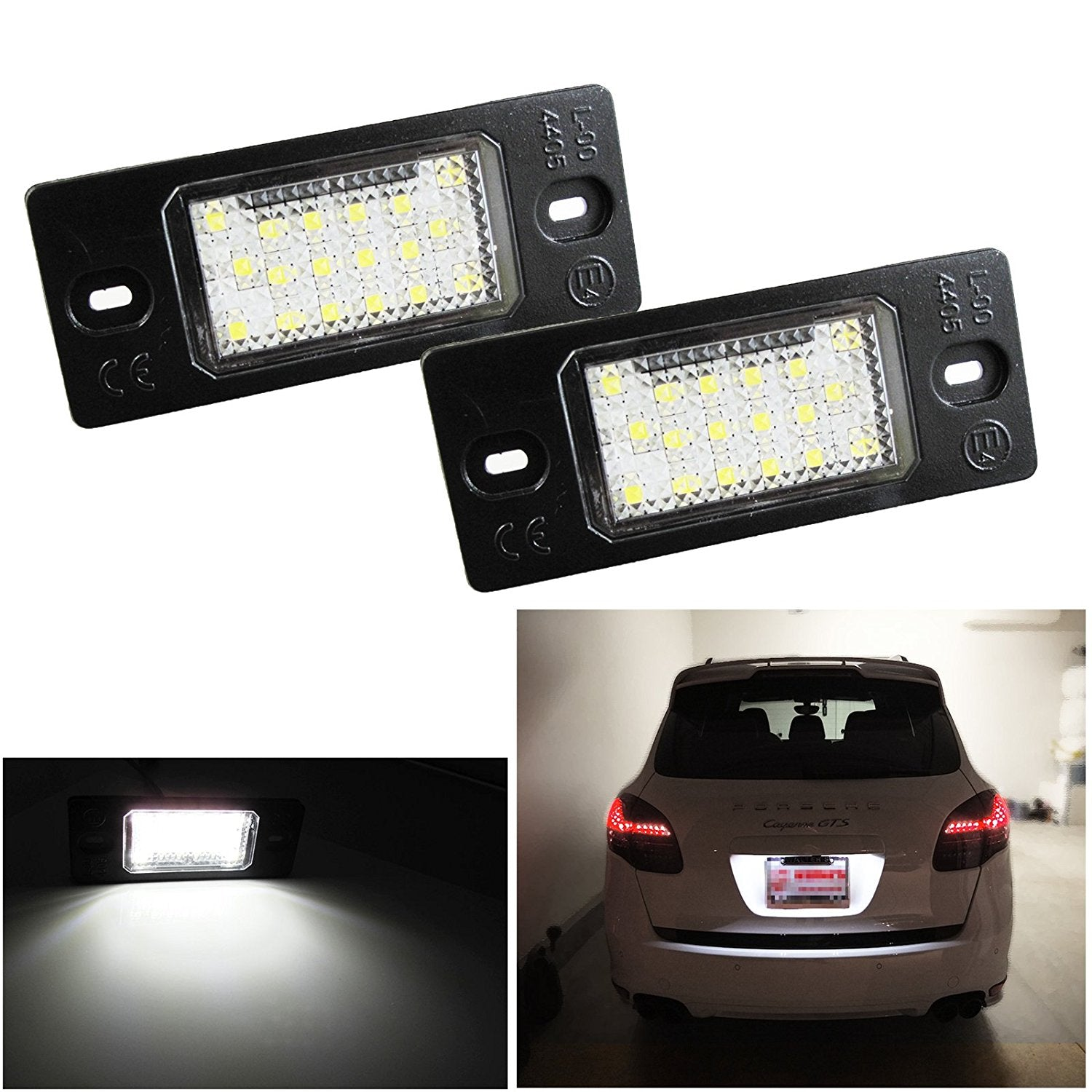 White Exact Fit LED License Plate Light Lamps For Porsche