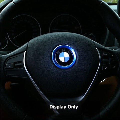 Steering Wheel Center Logo Ring Emblem Blue Trim For 2013-2015 BMW 1 3 5 Series X3 X5 X6 [Silver/Blue]