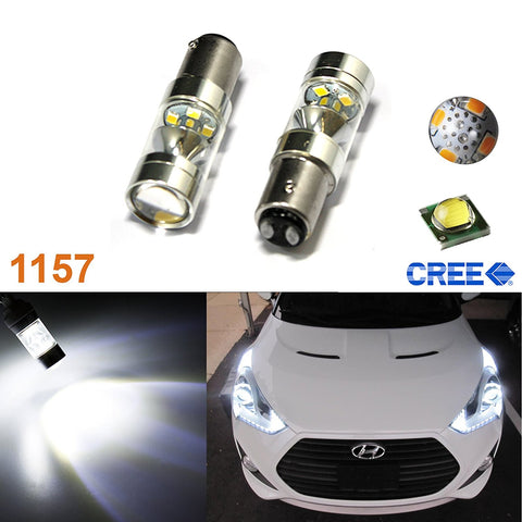 2x 100W Max CREE BAY15D 1157 Super Bright Tail Stop Brake Light LED Bulbs(White/Red/Amber)