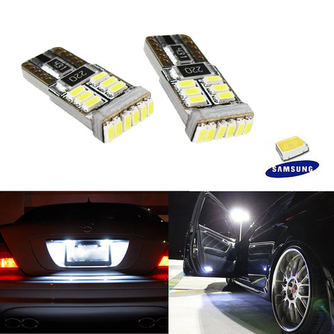 2 PCS Xenon White Error Free 18-SMD 2825 W5W LED Bulbs For Side Door Courtesy, License Plate Lights Replacement