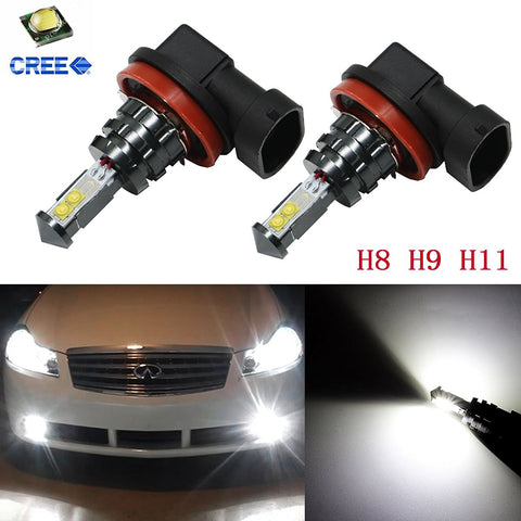 2pcs Super Bright White 80W 1800LM H8 H9 H11 Cree LED DRL Day Time Running Fog Lights Driving Lamps