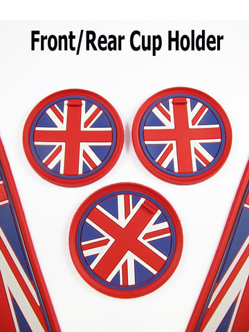 7pcs / 4pcs Union Jack UK Flag Cup Holders Coasters and Side Door Mats SET For MINI Cooper