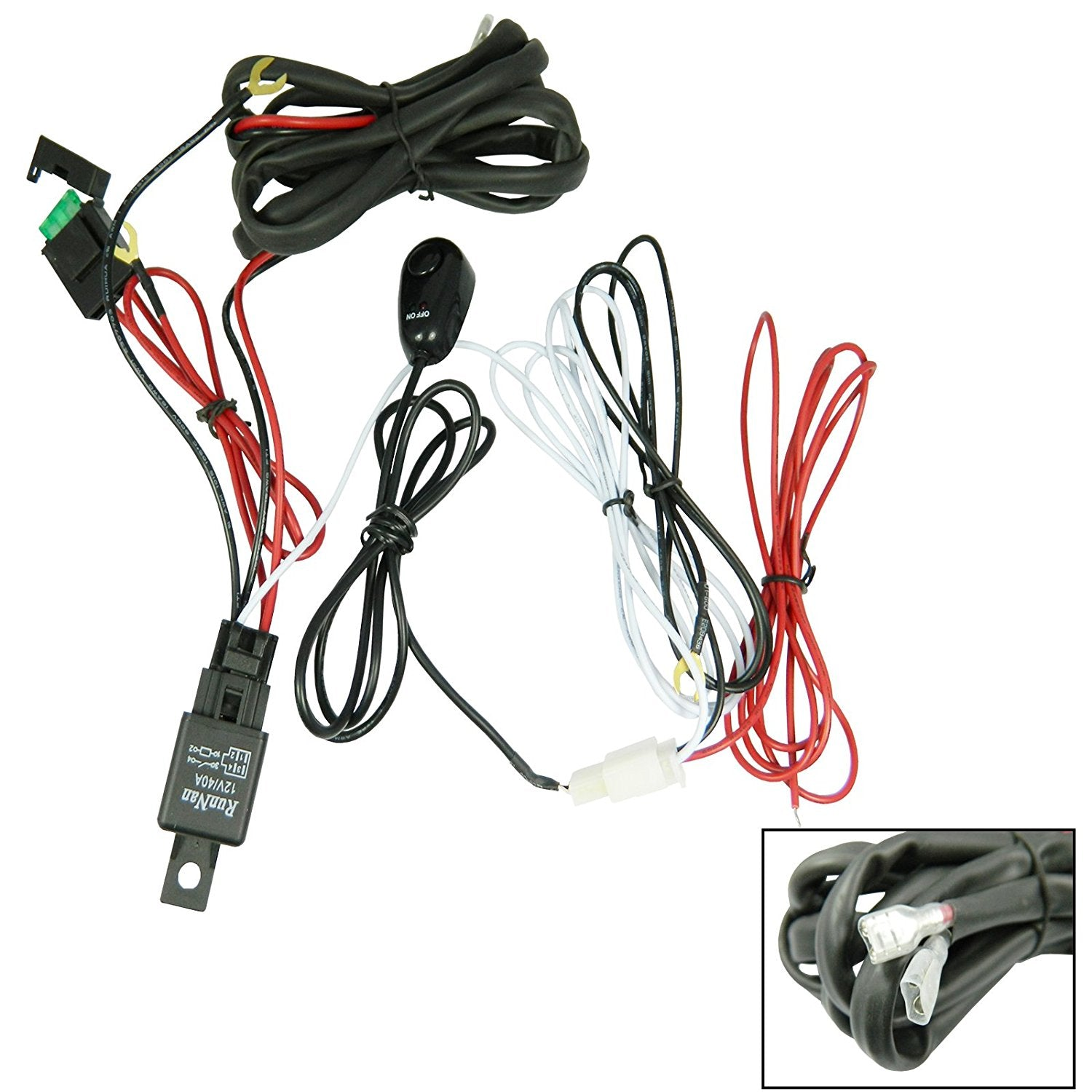 Universal Led Light Bar Wire Harness on led light bar filter, led light bar power cord, led light bar pin, led light bar housing, led light bar cover, led light bar circuit board, led light bar hardware,