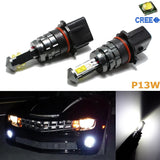2x 6000K HID Xenon White CREE 80W P13W SH24W LED Bulbs For Headlight DRL Daytime Running Lights Fog Lights