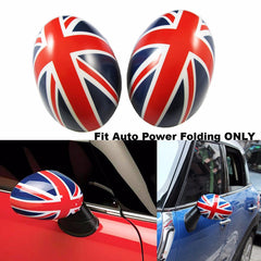 Union Jack Auto Power Folding Side Mirror Covers Caps For MINI Cooper R55 R56 R57 R60 R61 [Red / Black]