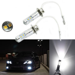 (2) Bright White H3 Samsung 10-SMD LED 2323S MD Bulbs DRL Daytime Driving Fog Lights Lamps
