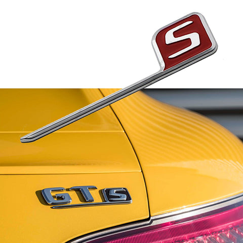 1x 3D Chrome S Logo Car Rear Trunk Lid Emblem Sticker For Mercedes Benz AMG Black/Red