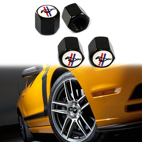 Tire Wheel Valve Stem Caps Set Air Dust Cover Caps For Mustang