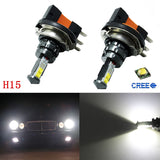 (2) Super Bright White 1800LM H15 CREE LED Lamp For Audi BMW Mercedes Fog Daytime Running Lights DRL Tail Backup Turn Signal Light