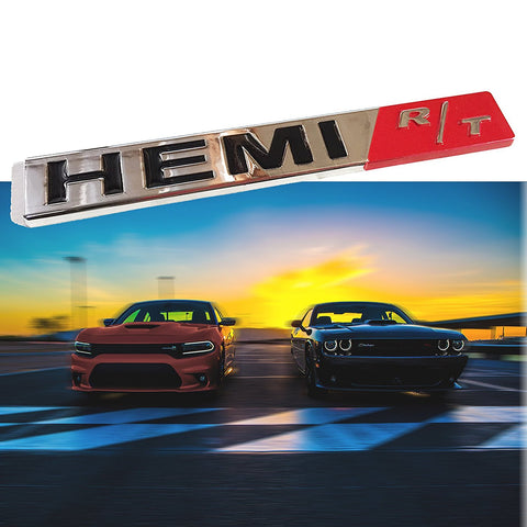 1x HEMI RT R/T Badge Heavy Metal Aluminium Emblem Decal Sticker For Dodge Challenger Charger Chrysler Jeep Trunk Lid