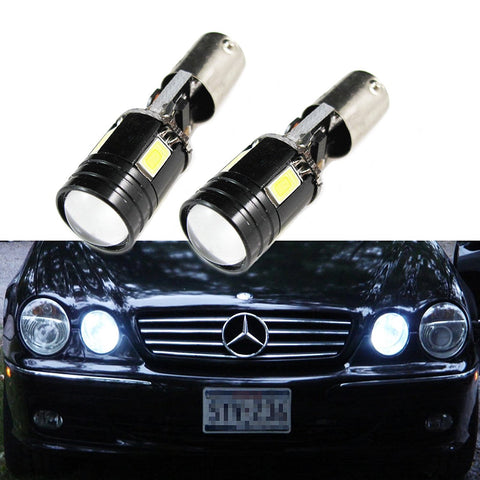 2PCS Error Free CREE Xenon White/Blue/Amber BAX9S 2-B BA9 64132 H6W 4-SMD LED For European Cars Parking Position Light Bulbs