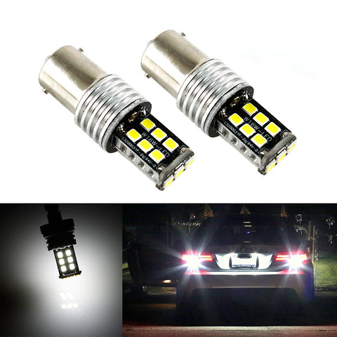 2x 1157 BAY15D 10W 15-SMD Bright White LED Bulbs For Backup Reverse,Turn signal,Tail lights