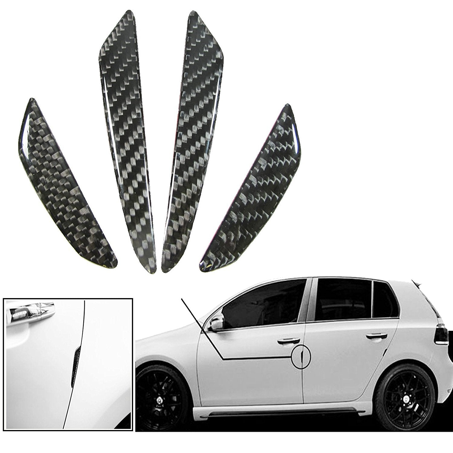 Black Silver Real Carbon Fiber Car Side Door Edge