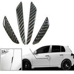 Black / Silver Real Carbon Fiber Car Side Door Edge Protection Guards Trim Sticker