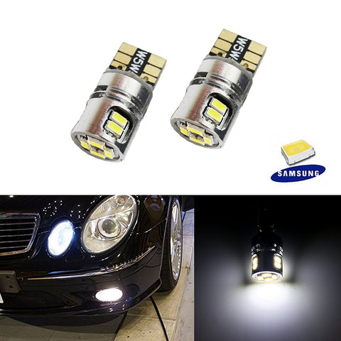 2 PCS Xenon White 10-SMD Error Free 2825 W5W LED Bulbs For Parking Position Lights