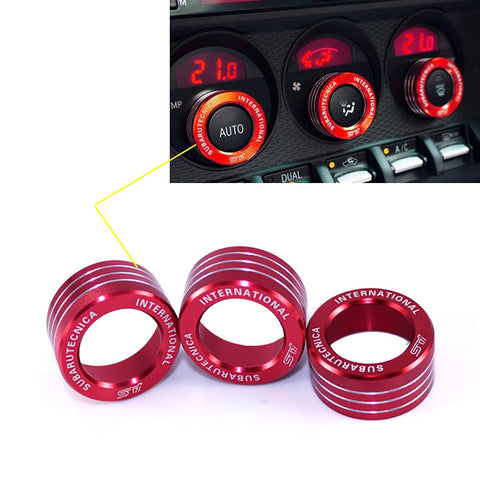 3x AC Climate Control Radio Volume Knob Ring Covers Trim for Subaru WRX STI