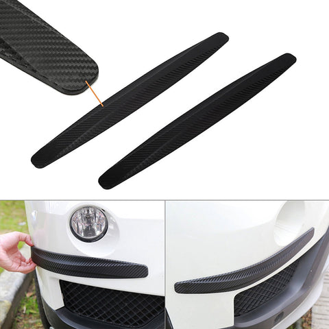 2 pieces Universal Carbon Fiber Pattern Front Rear Bumper Corner Extended Protector Lip Guards
