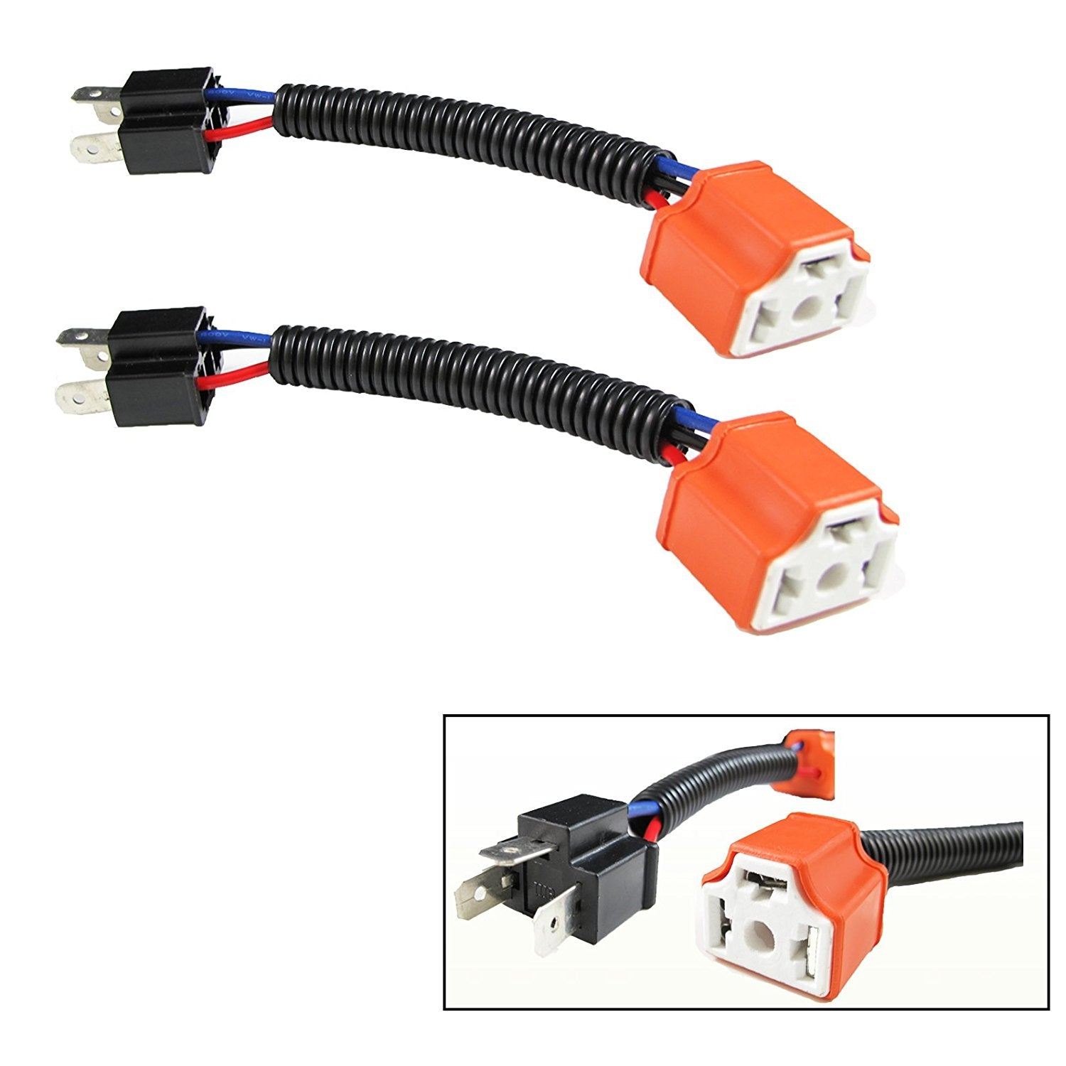 H4 9003 Ceramic Wire Wiring Harness Sockets Adpters For Headlights Technology Fog Lamp