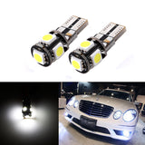 2x CANBUS ERROR FREE White T10 5-SMD 5050 LED Bulbs For Euro Car Parking Light, License Plate Light, Interior Light