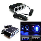 1 Set LED USB Triple 12V Car Cigarette Adapter Splitter Charger Socket w/ Switches for cell phones, tables, etc.