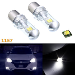 (2) Super Bright White High Power 100W 1157 BAY15d LED Bulbs Turn Signal Light, DRL, Tail Reverse Lights Replacement