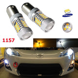 High Power 1157 Switchback White/Amber 31-SMD LED Bulbs For Front Turn Signal Lights