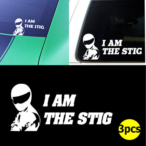 "3pcs 6"" I AM THE STIG JDM Euro Tuning Top Gear Car Window Die-Cut Graphic Vinyl Decals for SUV Truck Car Bumper, Laptop, Wall, Mirror, Motorcycle"