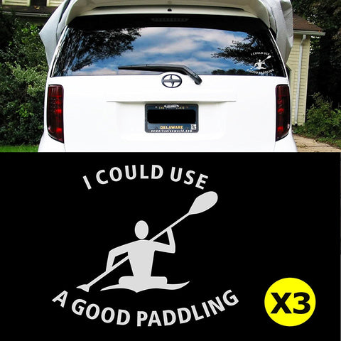 "3pcs 6"" I COULD USE A GOOD PADDLING Kayak Car Window Die-Cut Graphic Vinyl Decals for SUV Truck Car Bumper, Laptop, Wall, Mirror, Motorcycle"