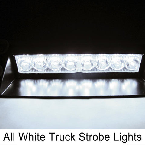 1x Red Blue\ Amber\ White Waterproof 8-LED Emergency Flash Truck Windshield Strobe Light 12V