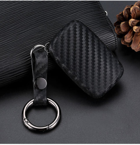 Carbon Fiber Style Key Fob Cover with Keychain - Black TPU Remote Smart Key Case Protector for Range Rover Jaguar