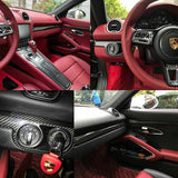 for Porsche 911 Boxster 2013+ Carbon Fiber Interior Trim Cover Decor Sticker - 5pcs for Passenger Side Cup Holder Panel/ 1pcs for Ignition Switch Panel/ 1pcs for Central Console Panel/ 2pcs for Door Handle Panel