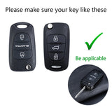 Carbon Fiber Pattern Remote Key Fob Cover Full Protection Key Case Holder for Hyundai Kia K2 K5 Flip Folding Smart Key