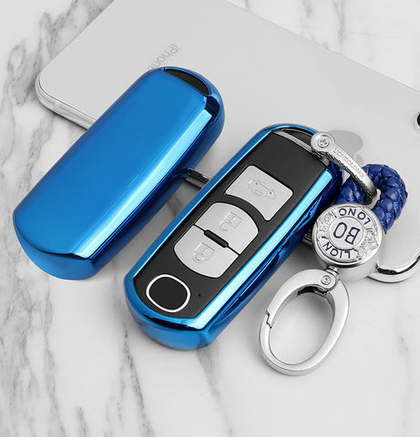 TPU Key Fob Cover Case Key Protective Shell for Mazda 2 3 5 6 8 CX3 CX5 CX7 CX9 MX5 Smart Remote Key 2/3/4-Button, Blue