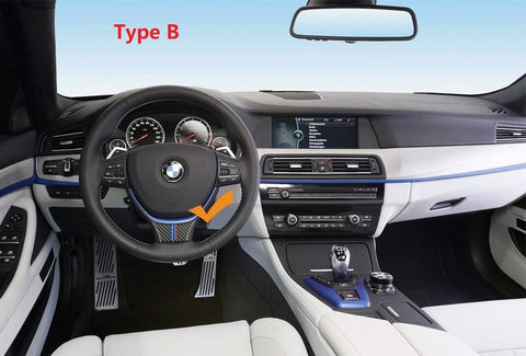 Carbon Fiber ///M Color Steering Wheel Trim Decal Decor Sticker for BMW 5 Series GT F07 F10 3.34'' x 2.16''/ 3.46'' x 1.69''