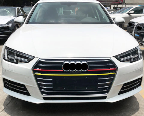 5pcs Germany Flag Style Front Kidney Grille Grill Insert Strip Trim Cover for Audi A4 2017-2018 2019