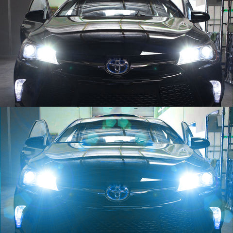 Xotic Tech 2pcs 6000K 8000k Dual Color White/ Ice Blue H10 9140 9145 LED High/ Low Beam Fog Light Headlight Conversion Kit