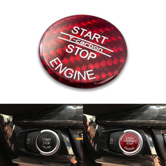 Red Carbon Fiber Keyless Start Stop Button Trim Cover Cap for BMW