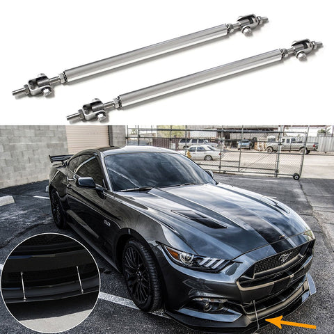 "2pc Adjustable 8""-11"" Front Bumper Lip Splitter Diffuser Strut Rod Tie Bars Fit Most Vehicles"