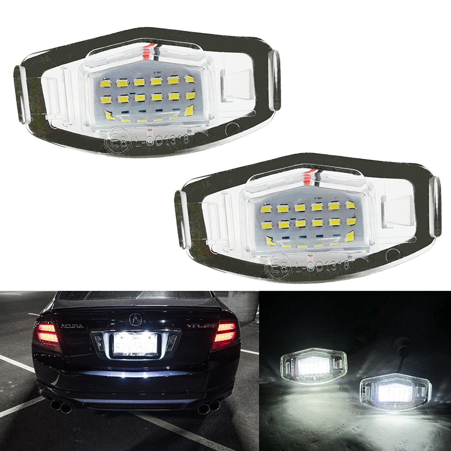 Direct Fit White LED License Plate Light Lamps For Acura