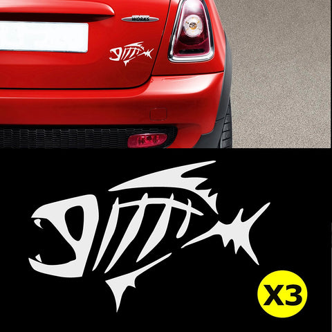 "3pcs 6.5"" G. Loomis Skeleton Fish Bone Kayak Fishing Boat Car Window Die-Cut Graphic Vinyl Decals for SUV Truck Car Bumper, Laptop, Wall, Mirror, Motorcycle"
