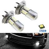 2x Super Bright 5W Xenon White Projector H7 LED Bulbs For Fog Driving Lights