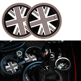73mm Red Blue Union Jack UK Flag Style Checkers For MINI Cooper Front Cup Holders Coasters R55 R56 R57 R58 R59