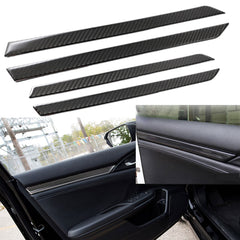 Real Carbon Fiber 3D Interior Inner Door Trim Decals Decoration For 2016 2017 2018 10th Honda Civic Sedan