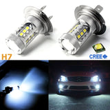 2 pcs Ice Blue 80W Super Bright H7 LED Bulbs for Headlight Daytime Running Fog Light