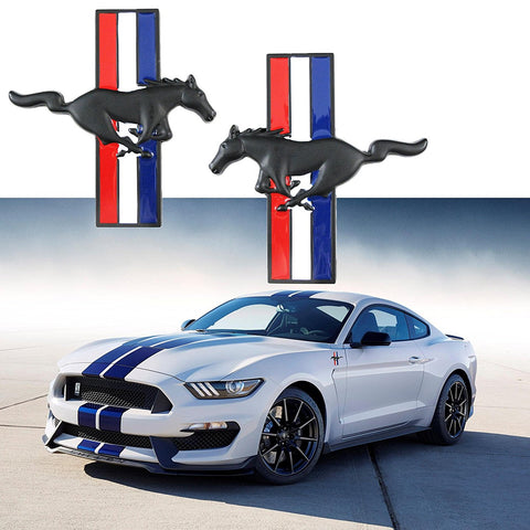 2x Pony Running Horse Tri Bar Emblem Side Fender Door Badge Sticker For Ford Mustang