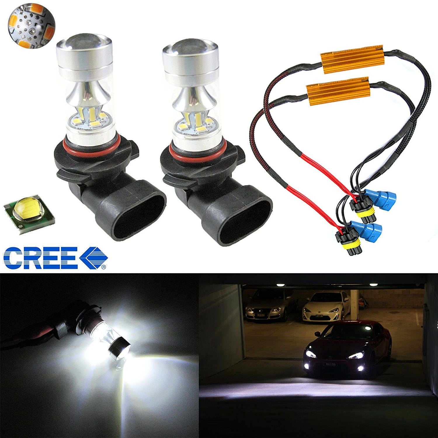 2x White 100W CREE 9005 LED Bulbs Daytime Running Lights DRL