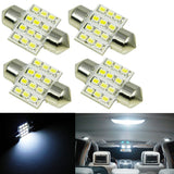 "White 12-SMD LED Bulbs For Car Interior Dome Lights 1.25"" 31mm DE3175 DE3022"