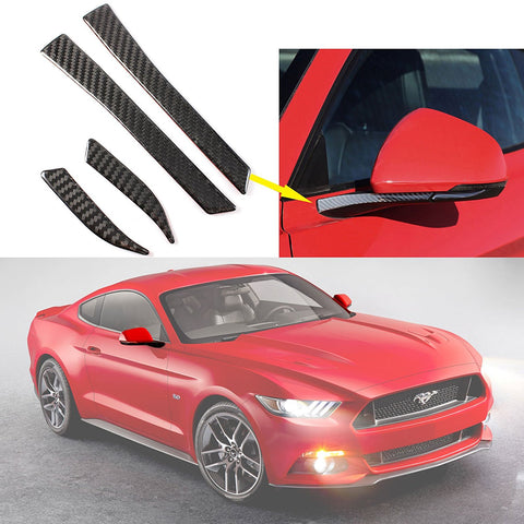 1 set Carbon Fiber Stickers Car Rearview Mirror Side Mirror Decoration Trim Sticker For 2015-2017 Ford Mustang