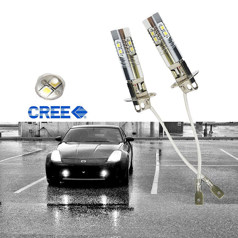 2x HID Xenon White 10-SMD High Power H3 LED Bulbs For Fog Lights Driving Lamp