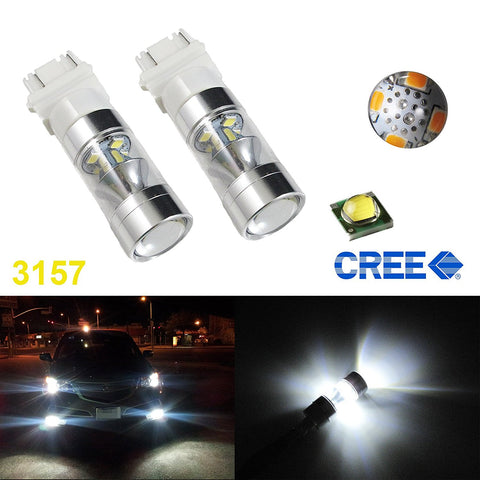 White/Amber/Red 100W CREE LED Daytime Running Light DRL Bulbs 3156 3157 3757 4114 4157 Turn Signal, Reverse